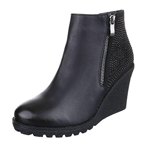 Ital-Design Keilstiefeletten Damen Schuhe Plateau Keilabsatz/ Wedge Keilabsatz Reißverschluss Stiefeletten Schwarz