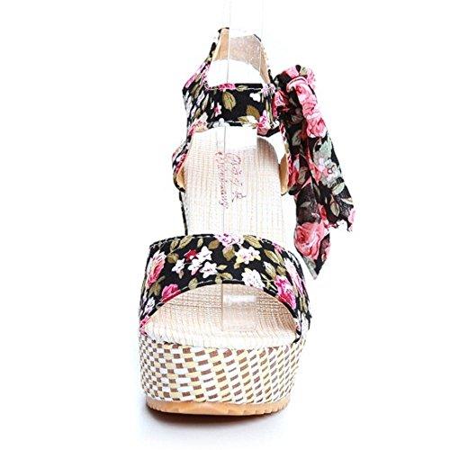 COOLCEPT Femmes Decontractee Floral Compenses Plate-forme Sandales Noir