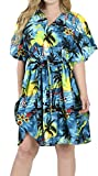 LA LEELA Soft Likre Aloha Hawaii Strand Kurze Kaftan Kleid Tunika blau verschleiern