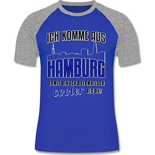 Städte - Ich komme aus Hamburg - zweifarbiges Baseballshirt für Männer Royalblau/Grau meliert