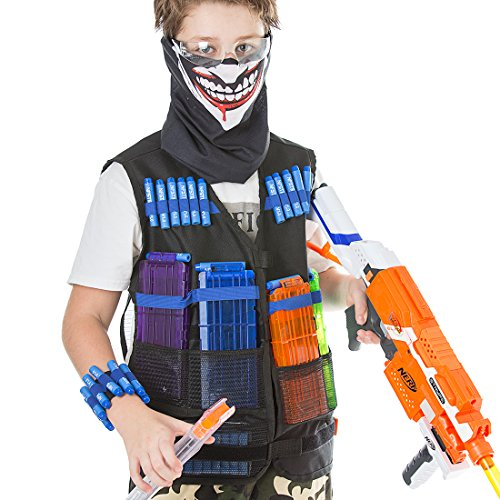 Foxom Kits de Chaleco Táctico para Nerf Guns Serie N-Strike Elite + 40 Pcs Espuma Dardos + Banda de Muñeca + Gafas Protectoras + 4 Pcs Recarga Rápida Clip para 12 Dardos + Máscara