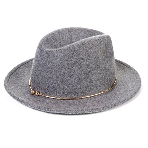 JNINTH Fedora Hut Elegante Trilby Wollfilz Hut mit Dekorationen Weiche Bequeme Street Style Zeitlose Klassische Cap Frauen