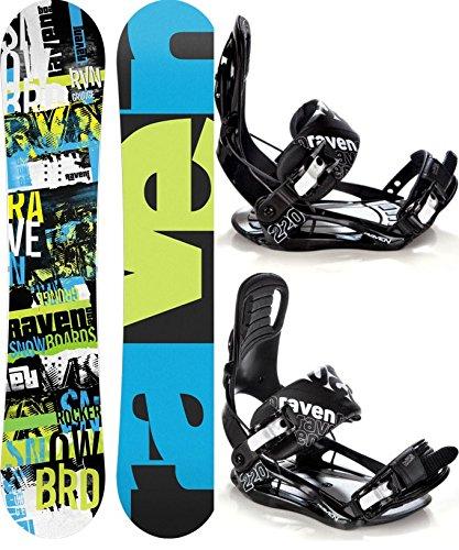 Snowboard Set: Snowboard Raven Grunge Green Carbon + Bindung Raven s220 Black XL