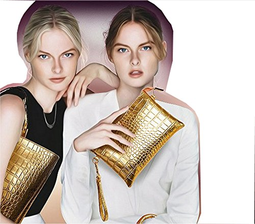 Frauen Taschen, Damen Handtaschen, Patent Leder Boden Krokodil Clutch