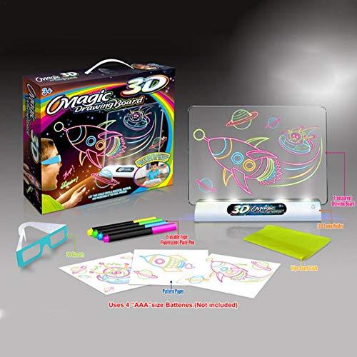 Magic Pad multifunktions 3D Sketchpad Flash 3D Sketchpad Colorized Reißbrett Puzzle Malerei Pädagogische Zeichnung für Kinder (Ohne batterie)