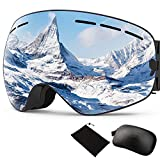 Tobbiheim Skibrille, Snowboard Brille Magnetisch Austauschbar Linse UV400 Schutz Anti Beschlag Verbesserte Belüftung für Damen, Männer, Jungend und Brillenträger – Blau