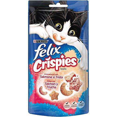 Purina FELIX Crispies Salmón y Trucha 8 paquetes de 45 gr - Total: 360 gr