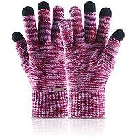 Guantes cómodos Guantes de tejer con pantalla táctil para hombres Modelos de invierno para mujeres guantes de lana cálidos más estudiantes de terciopelo Versión coreana (Color: Rojo) Manopla de invier