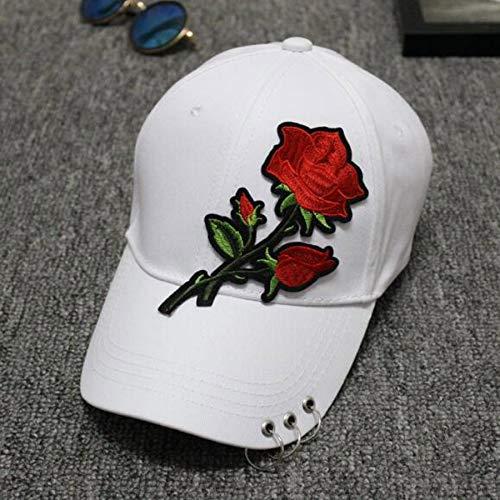Haughtily Männer Frauen Baumwolle Gestickte Rose Baseballmütze Mit Metallringe Sport Bend Sonnenschutzkappe Unisex Einstellbare Sonnenmütze