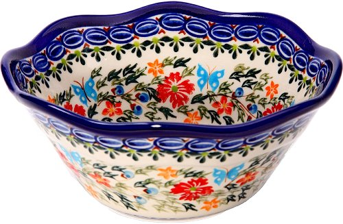 Polish Pottery Ceramika Boleslawiec, 0423/238, Bowl Viki 1, 3 1/4 Cups, Royal Blue Patterns with Red Cornflower and Blue Butterflies Motif - Cornflower Blue Cup