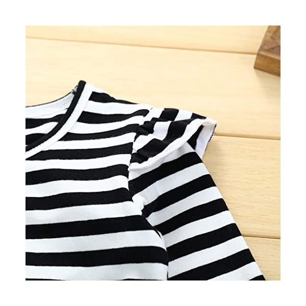 Conjuntos para bebés, Invierno Niños pequeños Bebés Niñas Camiseta de Manga Larga a Rayas Tops Correa Tirantes Faldas… 5