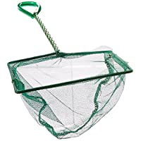 8 Inch Fish Net Fish Tank Net with Plastic Handle for Aquarium, Green