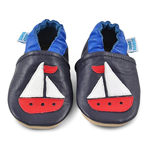 Juicy Bumbles - Weicher Leder Lauflernschuhe Krabbelschuhe Babyhausschuhe mit Wildledersohlen. Junge Mädchen Kleinkind 0-6 Monate 6-12 Monate 12-18 Monate 18-24 Monate Segelboot