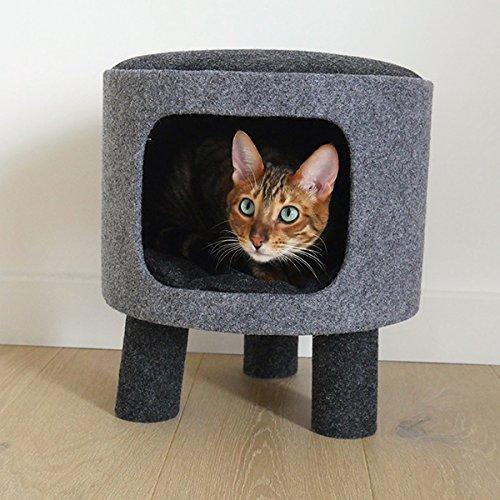 Rosewood Palissandro Elegante e Moderno Carbone Cat den e Sgabello in Feltro e Corda, Grigio