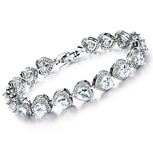 KAXIDY Damen Kristall Armbänder Heart-shaped Armband Elegantes Strass Armband (Weiß)