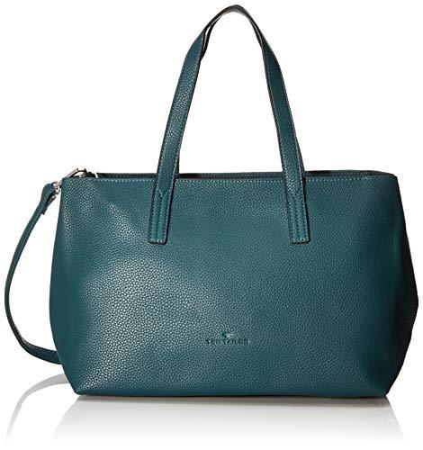 TOM TAILOR Shopper Damen, Marla, Grün (Petrol), 34x21x12 cm, TOM TAILOR Schultertasche, Handtaschen Damen