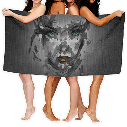 YUYUTE Strandtücher Für Frauen Männer Blanket Abstract Women Face Art Painting Bath Sheets Lovely 100% Polyester Swim Large Towel Cover for Yoga Mat Tent Floor 31.5
