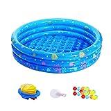 BESTONZON 23 stücke Aufblasbare Pool Badewanne Kleinkinder Pool Wassermatratze mit Luftpumpe Reparatur Kits und 20 Ozean Bälle für Kinder Baby (Blau)