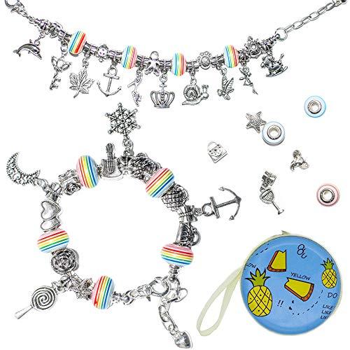 WONDERFORU Charm Armband Schmuck, DIY Schmuck Schlangenkette Versilberte Perlen für Freundschaftsarmband Geburtstagsgeschenk für Mädchen Teenager