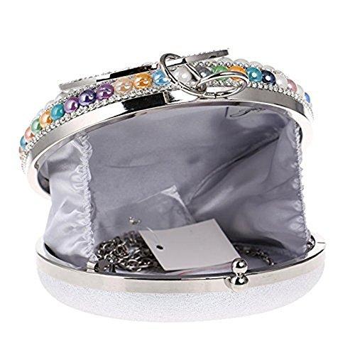 WANGXN Womens frizioni diamanti Borsa da sera di sera della sposa del partito di cerimonia nuziale della perla , gold black