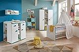 Babyzimmer, Kinderzimmer, Babymöbel, Komplett-Set, Babyausstattung, Babybett, Wickelkommode, Schrank, Junge, weiß, türkis, blau