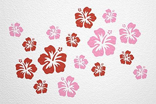 WANDfee® Wandtattoo 16 Hibiskus Blüten AC0610719 Größe Ø 7 - 15 cm, 2 x Ø 15 cm, 4 x Ø 11 cm, 10 x Ø 7 cm Farbe rot rosa - Bambus-stamm Material