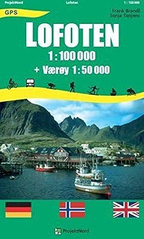 Lofoten: 1:100.000 + Værøy 1:50.000 - Touristische topographische Wanderkarte Norwegen