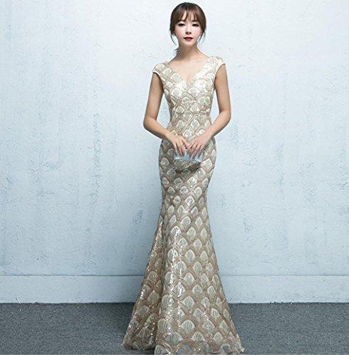 Heart&M Formelle Abendkleid lang-Stil Fish tail Deep-V-Pailletten-Paket hippe Zebrastreifen . champagne gold . l