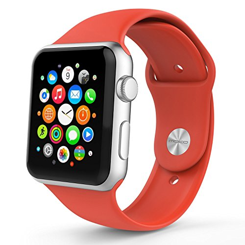 Apple Watch Band Kstyle ,Series 1 Series 2, Soft Silicone Replacement Sports Band for 42mm Apple Watch 2015 & 2016 All Models, Red (Not fit 38mm Versions)