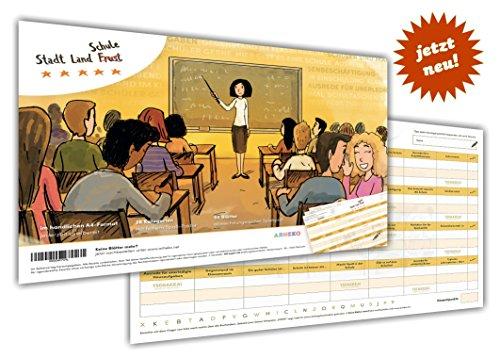 arheko Stadt Land Schule -Lern Spiel mit Humor fürden kompetenten Unterricht, für Schüler, Lehrer - 55 Seiten Block - 26 Kategorien im DIN A4 Format -