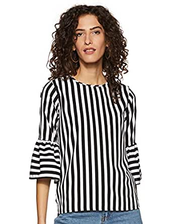 Miss Olive Women's Striped Regular fit Top (MOSS19TP30-20-130_Black & White_XS)