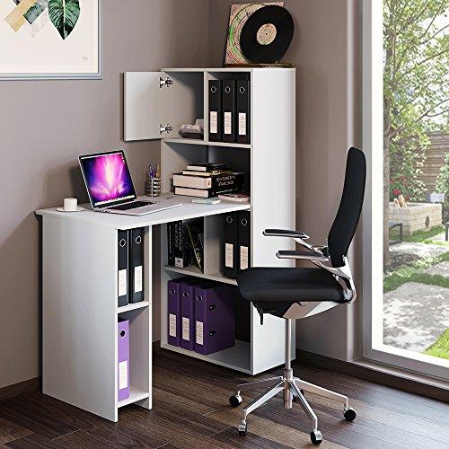 Schreibtisch Regalkombination 144cm Höhe weiß Regal Ordner Akten Büro PC Tisch - perfekt für das Arbeitszimmer