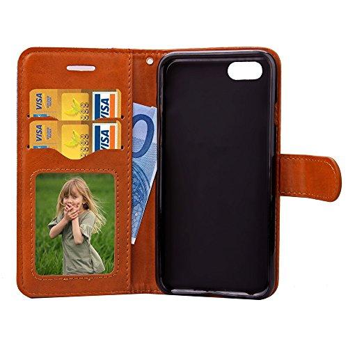 Wkae Case Cover Mixte Couleur du motif vague de couverture de cas Jeans en cuir PU Retro Folio Stand Silicone Case Cover avec Cash Card Slots pour Apple iPhone 7 ( Color : Gray , Size : IPhone 7 ) Rose