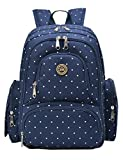Vlokup Best Nappy Changing Backpack Multifunction Designer Travel Baby Diaper Bag for Stylish Moms & Dads Smart Organize System Waterproof with Baby Bottle bag, Changing Pad, Stroller Straps Darkblue Dot