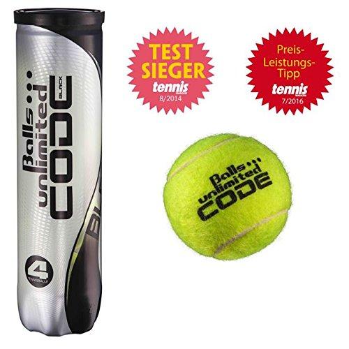 12 Tennisbälle Unlimited Black Code 3X4 Dose Testsieger Tennismagazin 08/2014