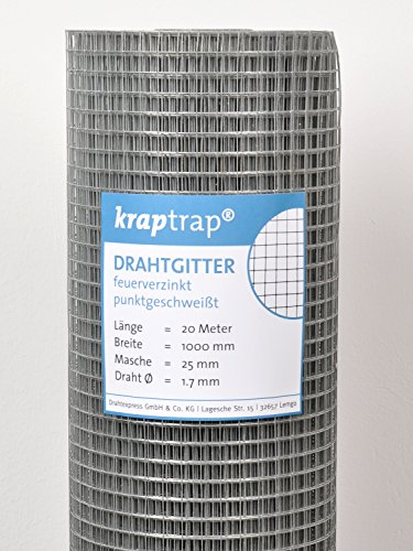 KrapTrap® Volierendraht Drahtgitter, 25x25 Masche 1 x 20m Gitterdraht Schweißgitter 4-eck