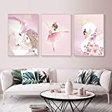 Unicornio princesa bebé niña habitación decoración dibujos animados cisne pared arte lienzo pintura nórdico cartel pared cuadros para sala de estar