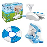PETGARD 3er Set Hundespielzeug Gartenbrunnen + Wasserfrisbee + Hai mit Rettungsring