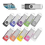 EASTBULL 1GB Data Datenspeicher Speicherstick USB 2.0 Sticks, 10 stück Mehrfarbig