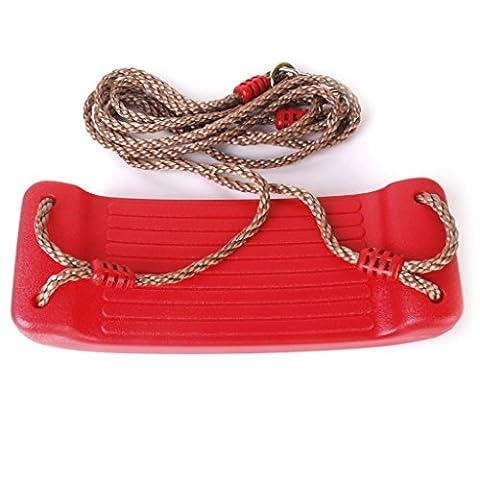 Gazechimp Balançoire en Plastique Siège avec Corde-Rouge