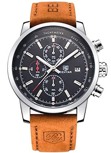 BENYAR BY-5102 Herren Chronograph Schwarzes Zifferblatt Armbanduhr Leder Braun Uhr Analog Quartz Wasserdicht 30m Dornschliesse (braun)