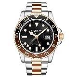 Stuhrling Original - Bracelet en Acier Inoxydable pour Homme, Montre GMT, Double Fuseau horaire - Date de réglage Rapide avec Couronne vissée, résistant à l'eau jusqu'à 10 ATM (Two Tone Rose Gold)
