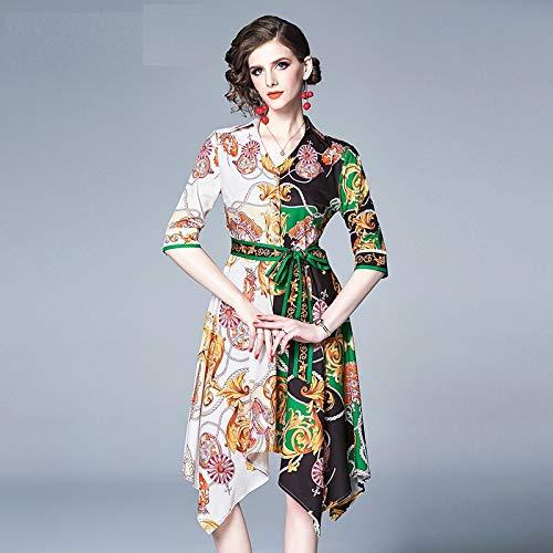 QUNLIANYI Kleid Spitze Temperament Court Style Kleid Frauen Halbarm V Hals Kette-Print Elegante A-Linie Unregelmäßige Kleid Mit Gürtel XXL -