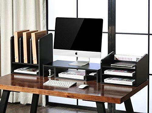 Fitueyes Schreibtisch Ablagesystem Tisch-Organizer aus Holz 35x25x40cm schwarz DO203501WB - 6