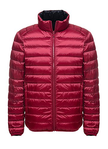 Herren Reversible Daunenjacken Winter Kaelteschutz Quilted Trenchcoat Schwarz Rot L - Reversible Hooded Mantel