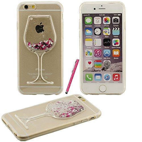 Verre à vin motif fluide étoiles de phosphore liquide Hard Cover Case Coque de protection en plastique pour Apple iPhone 6 plus / 6S plus 5.5 inch avec Touch stylet de l'écran violet