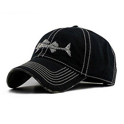 a1eb27c60446c AKIZON Men s Adjustable Cotton Denim Baseball Cap Gorra Fishing Style with Fish  bones Dad Hats for Men (Black)