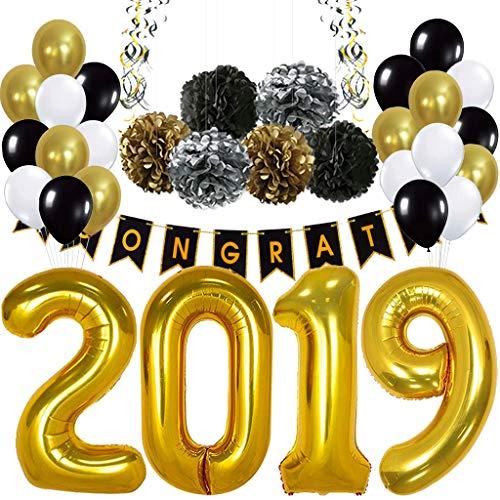 DreamJing 2019 Luftballons Gold Graduation Party Dekoration,55 Stück Latex Balloon Schwarz Weiß Ballons Abschlussfeier Party Banner Supplies Deko