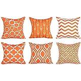 Top Finel Fundas cojín lona de Almohadas creativa para el sofá Juego de 6 45x45cm Naranja