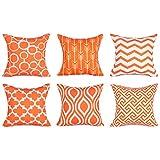 Top Finel 6er Set Segeltuch Bedrucken Kissen Kissenbezüge Bedrucken Platz Dekorative Kissenhülle in verschiedene Muster 45x45 cm, Orange Serie